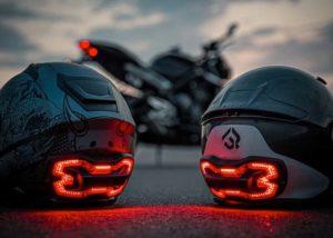 Motorcycle helmet lights
